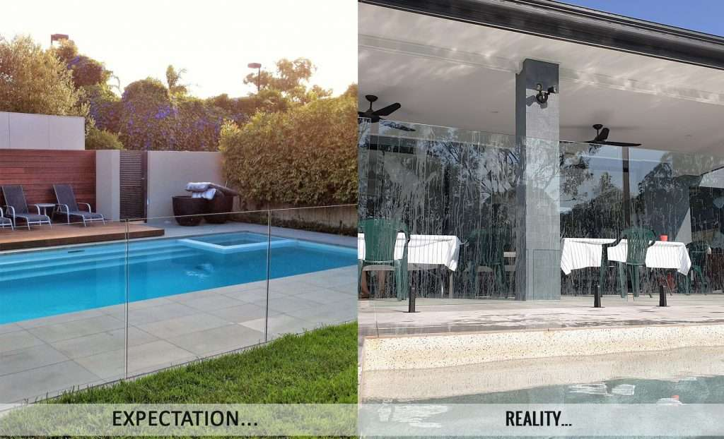glass fencing vs pool perf - alternative glass fencing perforated and laser cut mesh dot fencing