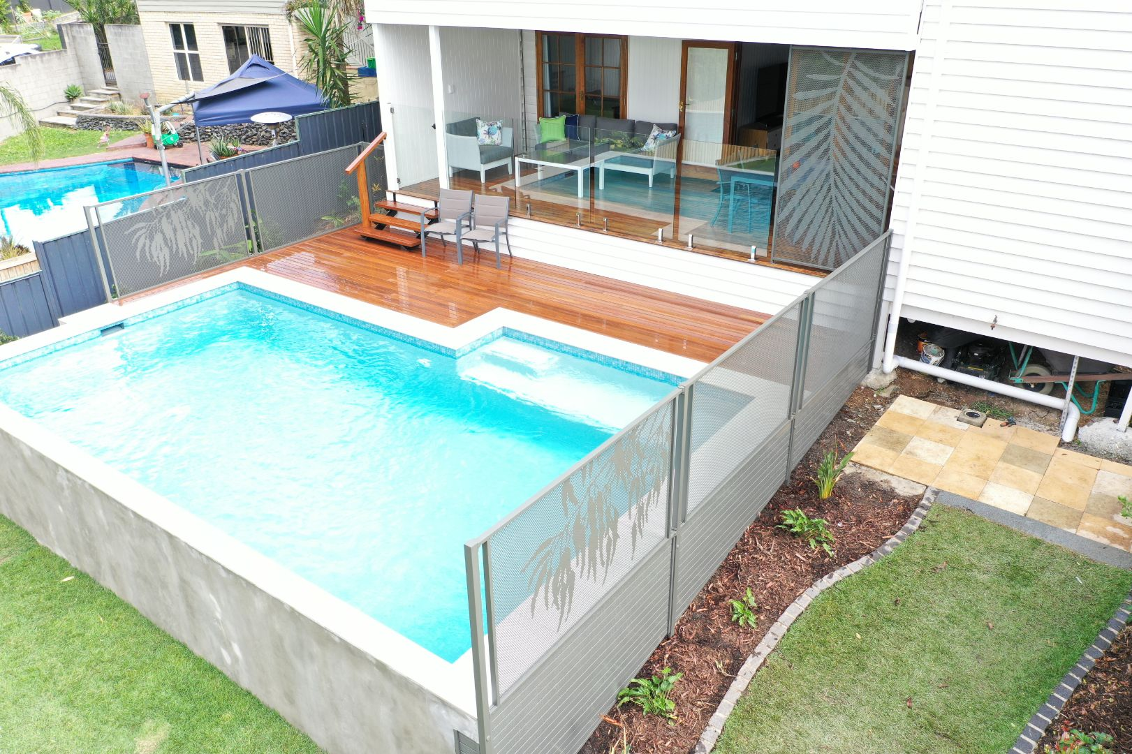 Pool perf palm and gum fencing design perforated pool fencing for concrete pool leaf design glass fencing