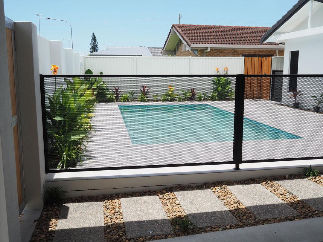 front yard pool fencing mesh dot laser cut fencing glass fence alternative