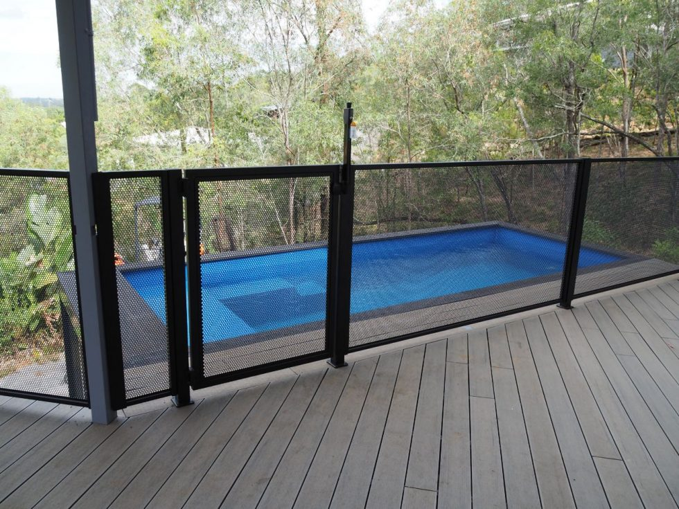 Pool perf - matt black - container pool fence - Glens Balustrading Fencing - QLD (2)