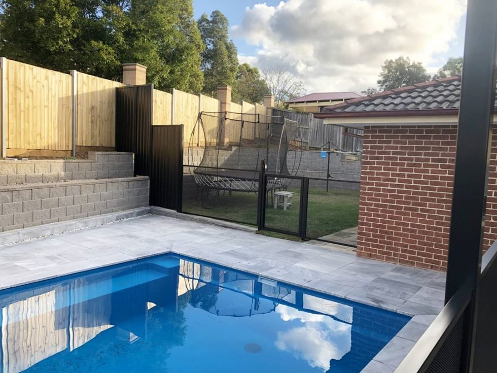 Pool Perf - black satin- pure perf - NSW - Jims Fencing Camden with gate